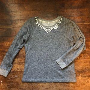 J. Crew Embellished Cotton Terry Sweatshirt